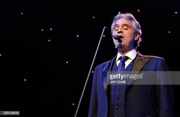 Singer Andrea Bocelli performs onstage during the launch of The Andrea Bocelli Foundation at the Beverly Hilton Hotel on December 9 2011 in Beverly...