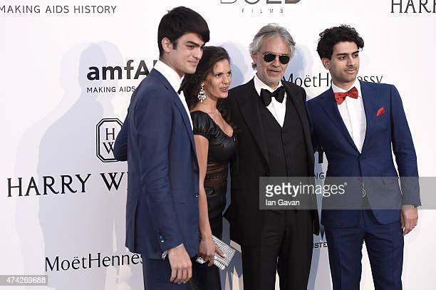 Singer Andrea Bocelli Veronica Berti Amos Bocelli and Matteo Bocelli attend amfAR's 22nd Cinema Against AIDS Gala Presented By Bold Films And Harry...