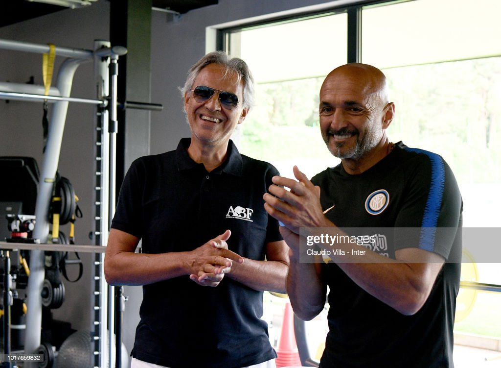 Singer Andrea Bocelli Visits Fc Internazionale Training Center