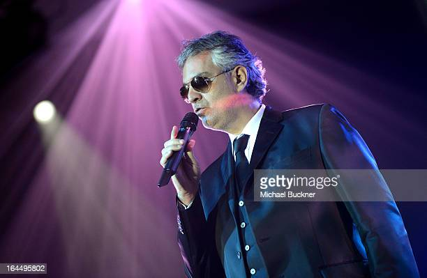 Singer Andrea Bocelli with Moet Chandon at Celebrity Fight Night XIX at JW Marriott Desert Ridge Resort Spa on March 23 2013 in Phoenix Arizona