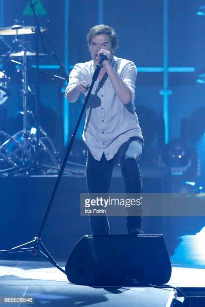 Singer Andreas Frege alias Campino performs with his band 'Die Toten Hosen' during the Echo award show on April 6 2017 in Berlin Germany