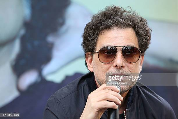 Singer Andres Calamaro speaks during a press conference at Auditorio Nacional on June 21 2013 in Mexico City Mexico