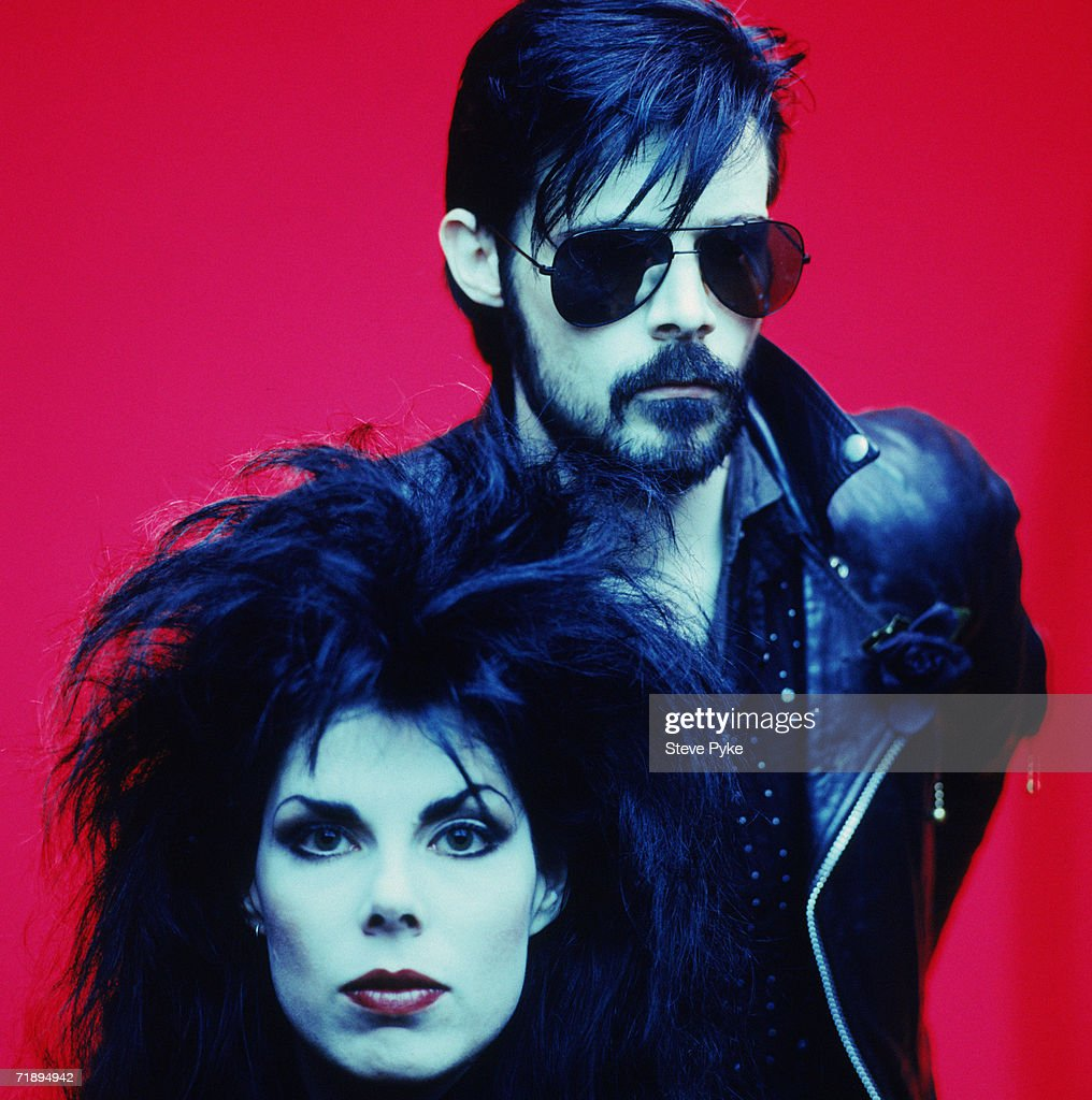 Singer Andrew Eldritch and bassist Patricia Morrison who comprise goth rock band The Sisters of Mercy, late 1980s.