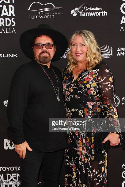 Singer Andrew Farriss and wife Marlina NeeleyFarriss arrives for the 2018 Toyota Golden Guitar Awards on January 27 2018 in Tamworth Australia