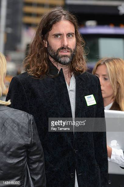 Singer Andrew Wyatt of Miike Snow leaves the Late Show With David Letterman taping at the Ed Sullivan Theater on April 26 2012 in New York City