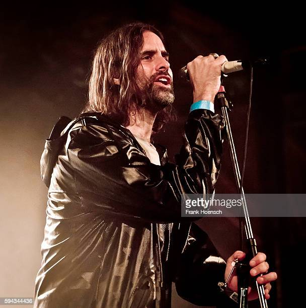 Singer Andrew Wyatt of Miike Snow performs live during a concert at the Postbahnhof on August 22 2016 in Berlin Germany
