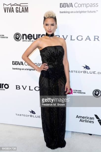 Singer Andy Allo attends the 25th Annual Elton John AIDS Foundation's Academy Awards Viewing Party at The City of West Hollywood Park on February 26...