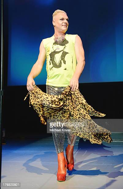 Singer Andy Bell of musical group Erasure performs onstage as part of the Regeneration Tour at The Greek Theatre on August 30 2013 in Los Angeles...