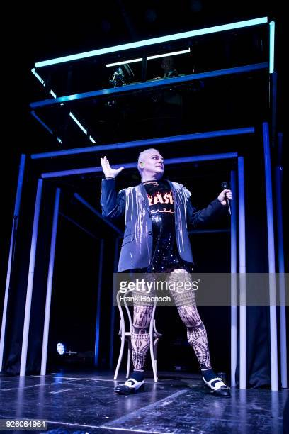 Singer Andy Bell of the British band Erasure performs live on stage during a concert at the Columbiahalle on March 1 2018 in Berlin Germany