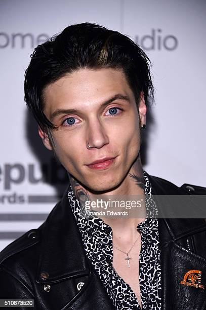 Singer Andy Biersack arrives at the Republic Records Private GRAMMY Celebration at HYDE Sunset Kitchen Cocktails on February 15 2016 in West...