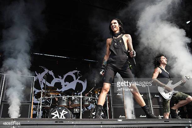 Singer Andy Biersack of Black Veil Brides performs at PNC Music Pavilion on July 7 2015 in Charlotte North Carolina