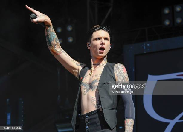 Singer Andy Biersack of Black Veil Brides performs on Day 2 of Aftershock Festival 2018 at Discovery Park on October 14 2018 in Sacramento California