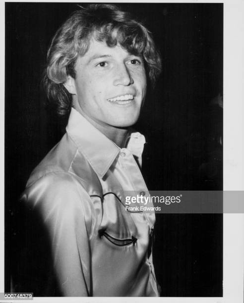 Singer Andy Gibb attending a party held for his brothers the 'Bee Gees' at the Beverly Hilton Hotel California July 1979