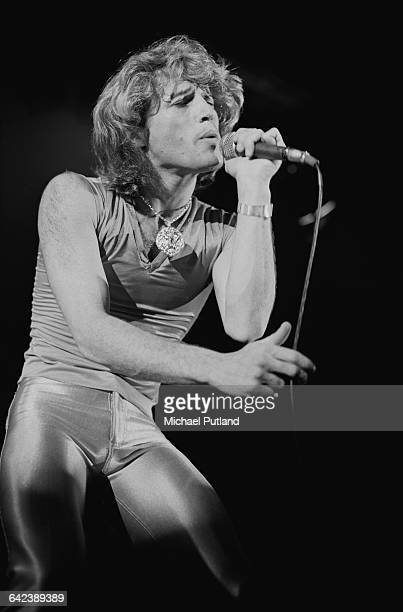 Singer Andy Gibb performing on stage at the NARM convention and award ceremony at the Diplomat Hotel in Hollywood Florida March 1979 He is the...