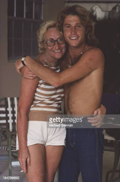 Singer Andy Gibb younger brother of the Bee Gees with his mother Barbara in Miami Florida 1978
