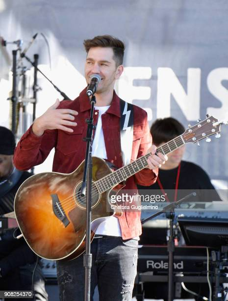 Singer Andy Grammer performs during the Women's March Los Angeles 2018 on January 20 2018 in Los Angeles California