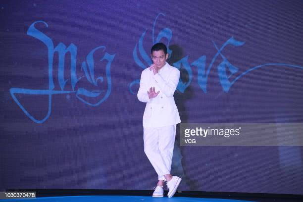 Singer Andy Lau attends a press conference ahead of his concert on September 3 2018 in Hong Kong China