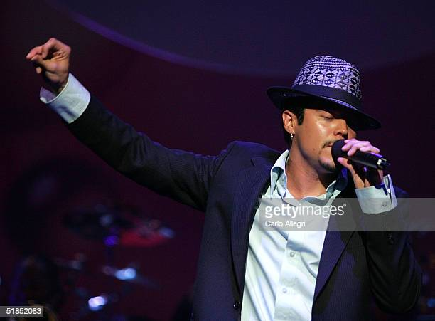 Singer Andy Vargas performs during the inaugural Grammy Jam Fest at the Wiltern Theatre December 11 2004 in Los Angeles California The event...