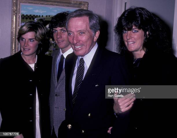 Singer Andy Williams daughter Noelle Williams son Christian Williams and Lori Wright attend Jane Wooster Scott Art Exhibit Opening on December 7 1982...
