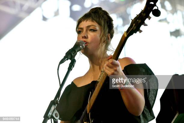 Singer Angel Olsen performs on the Gobi stage during week 1 day 2 of the Coachella Valley Music and Arts Festival on April 14 2018 in Indio California