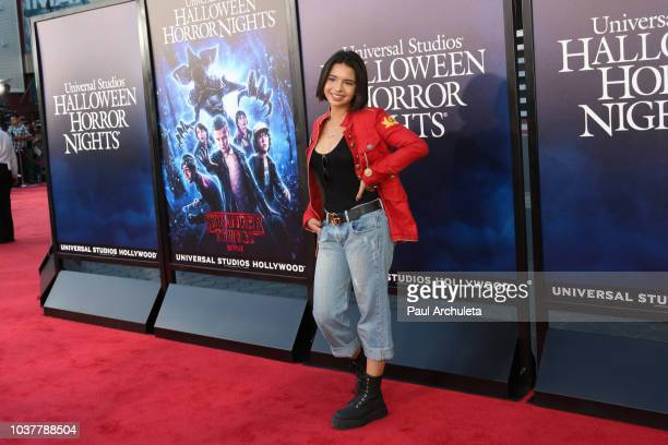 Singer Angela Aguilar attends the opening night celebration of 'Halloween Horror Nights' at Universal Studios CityWalk Cinemas on September 14 2018...