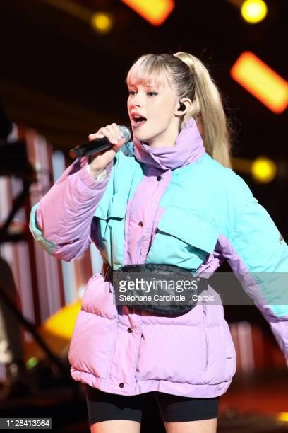 Singer Angele performs during the 34th 'Les Victoires De La Musique' Show at La Seine Musicale on February 08 2019 in BoulogneBillancourt France