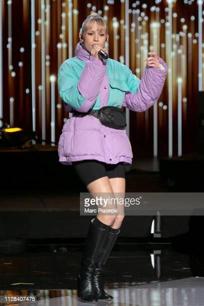 Singer Angele Van Laeken aka Angele performs during the 34th Victoires de la Musique at La Seine Musicale on February 08 2019 in BoulogneBillancourt...