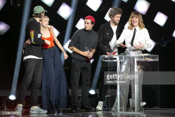 Singer Angele Van Laeken aka Angele receives an award during the 34th Victoires de la Musique at La Seine Musicale on February 08 2019 in...