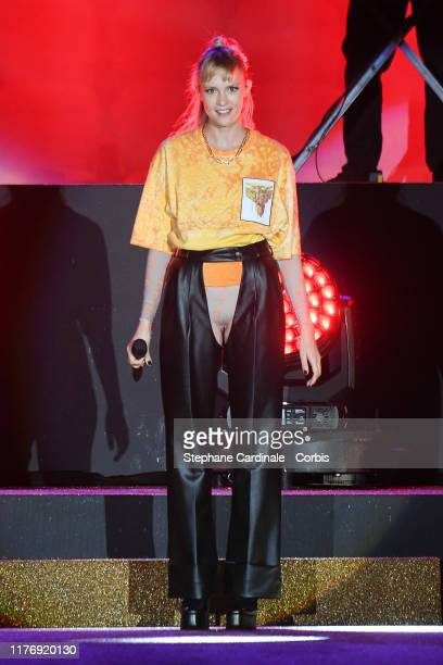 Singer Angele Van Laeken performs during the Etam Winter 2019/Summer 2020 show as part of Paris Fashion Week At Roland Garros on September 24 2019 in...