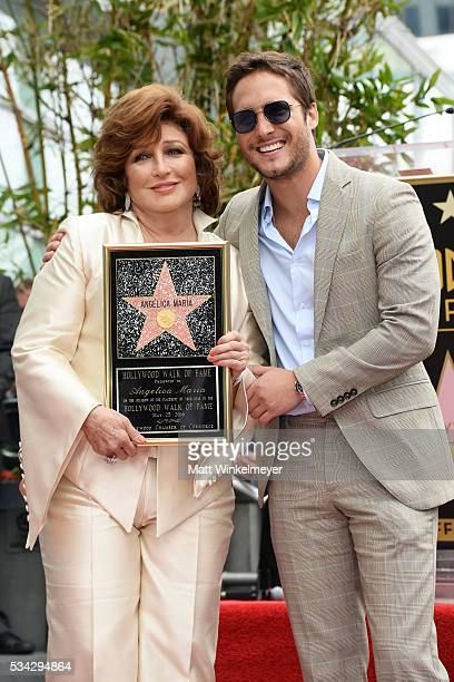 Singer Angelica Maria and actor Diego Boneta attend a ceremony honoring Angelica Maria with a Star on The Hollywood Walk of Fame on May 25 2016 in...