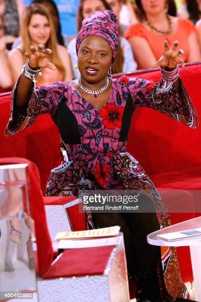 Singer Angelique Kidjo attends the 'Vivement Dimanche' French TV Show Held at Pavillon Gabriel on June 11 2014 in Paris France