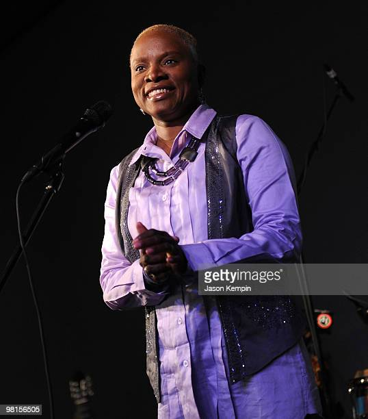 Singer Angelique Kidjo performs at the Apple Store Soho on March 30 2010 in New York City