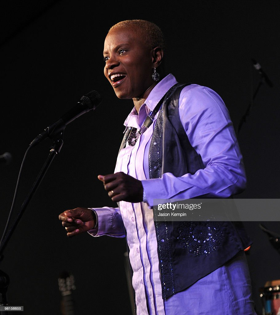 Singer Angelique Kidjo performs at the Apple Store Soho on March 30, 2010 in New York City.