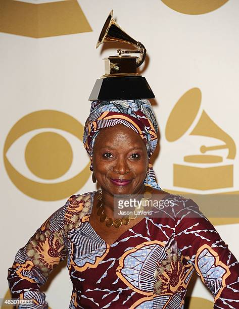 Singer Angelique Kidjo poses in the press room at the 57th GRAMMY Awards at Staples Center on February 8 2015 in Los Angeles California