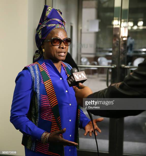 Singer Angelique Kidjo speaks to the media at the opening night of the 25th African Film Festival at Walter Reade Theater on May 16 2018 in New York...