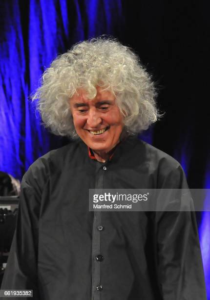 Singer Angelo Branduardi performs on stage during a concert at Konzerthaus Wien on March 31 2017 in Vienna Austria