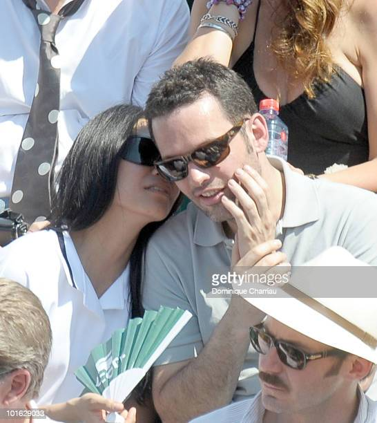 Singer Anggun and writer Cyril Montana sighting at the French open on June 3 2010 in Paris France