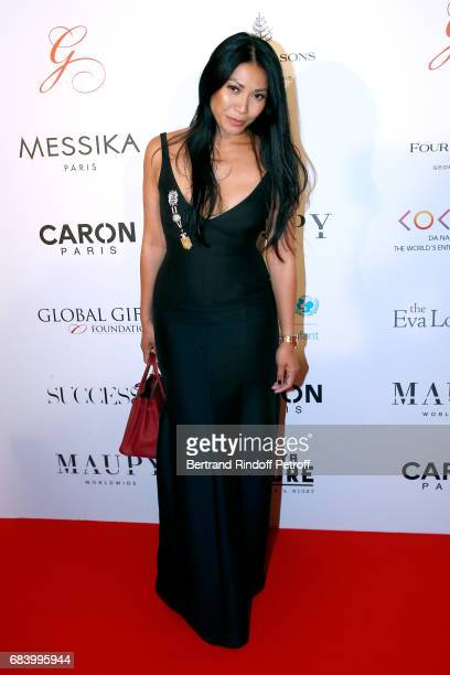 Singer Anggun attends the 'Global Gift the Eva Foundation' Gala Photocall at Hotel George V on May 16 2017 in Paris France