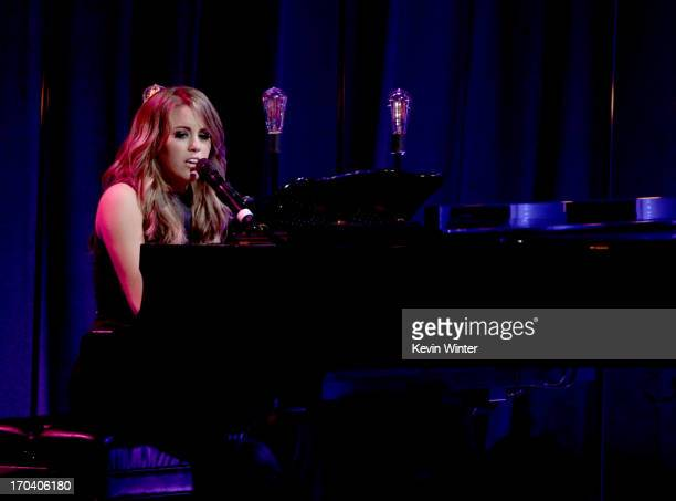 Singer Angie Miller performs onstage during Women In Film's 2013 Crystal Lucy Awards at The Beverly Hilton Hotel on June 12 2013 in Beverly Hills...
