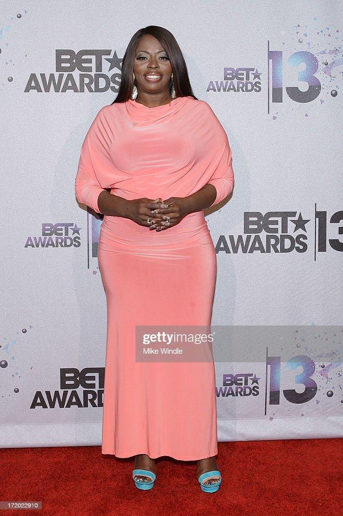 Singer Angie Stone poses in the Backstage Winner's Room at Nokia Theatre L.A. Live on June 30, 2013 in Los Angeles, California.