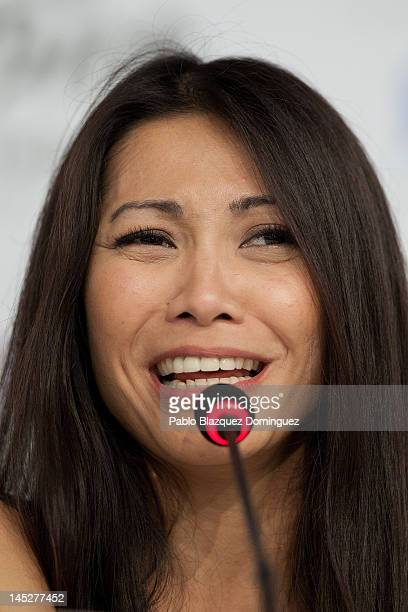 Singer Angun of France attends a press conference at Cristal Hall during the lead up to the Eurovision Song Contest on May 25 2012 in Baku Azerbaijan