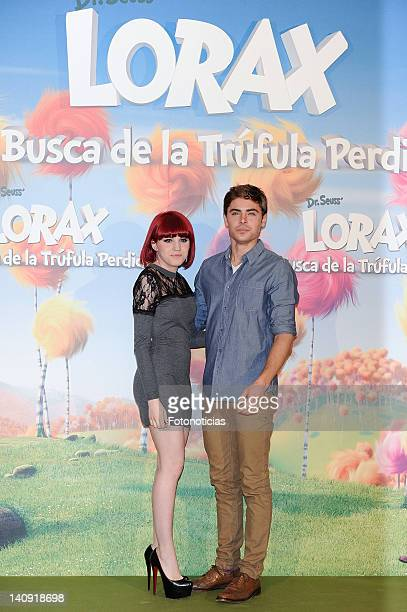Singer Angy and actor Zac Efron attend a photocall for 'Dr Seuss The Lorax' at Villa Magna Hotel on March 8 2012 in Madrid Spain
