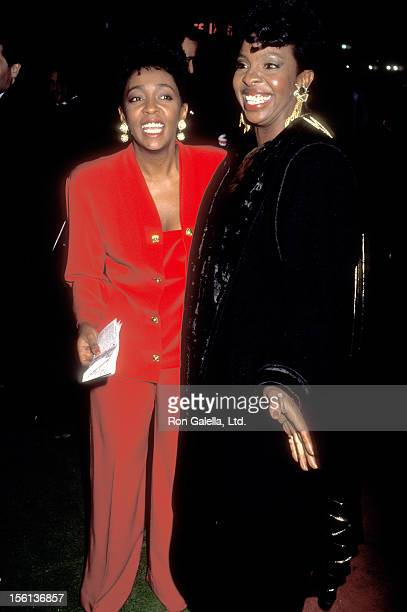 Singer Anita Baker and Singer Gladys Knight attend the 17th Annual American Music Awards on January 22 1990 at Shrine Auditorium in Los Angeles...