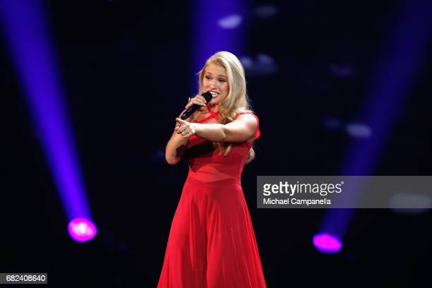 Singer Anja representing Denmark performs the song 'Where I Am during the rehearsal for ''The final of this year's Eurovision Song Contest'' at...
