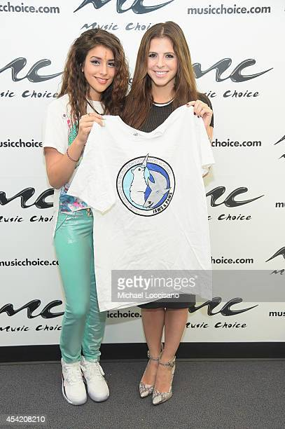 Singer Anjali and 'You A' host Clare Galterio visit Music Choice on August 26 2014 in New York City