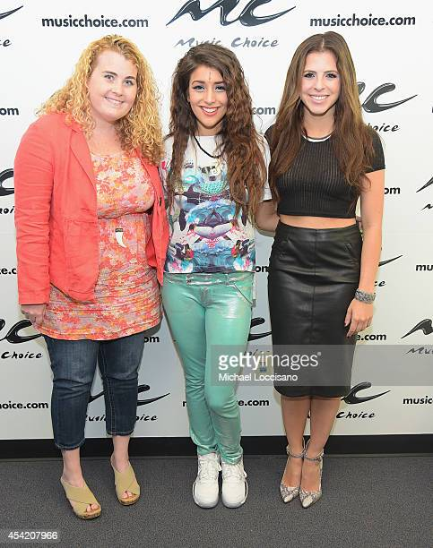 Singer Anjali EditorinChief of Popstar magazine Colleen Broomall and 'You A' host Clare Galterio visit Music Choice on August 26 2014 in New York City