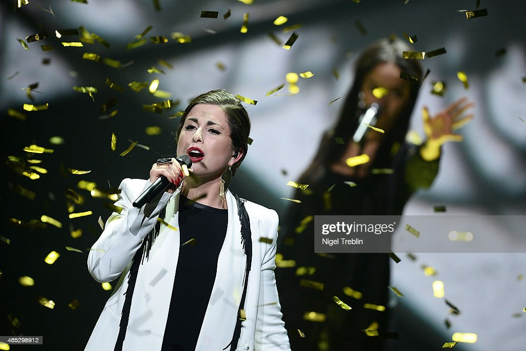 Singer Ann Sophie performs after winning the finals of the TV show 'Our Star For Austria' (german title: Unser Song fuer Oesterreich) on March 5, 2015 in Hanover, Germany. 'Our Star For Austria' is a national contest to vote for the German contestant for the 60th Eurovision Song Contest taking place in Vienna, Austria in May 2015.