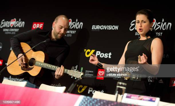 Singer Ann Sophie representing Germany performes her song during the official press conference of the Eurovision Song Contest 2015 in Vienna Austria...