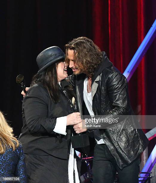 Singer Ann Wilson of Heart and musician Chris Cornell onstage during the 28th Annual Rock and Roll Hall of Fame Induction Ceremony at Nokia Theatre...