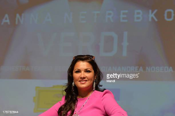 Singer Anna Netrebko launches her new album 'Verdi' at Mozarteum on August 7 2013 in Salzburg Austria